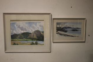 TWO FRAMED AND GLAZED WATERCOLOURS DEPICTING SEASCAPES ONE SIGNED DONALD MURRAY