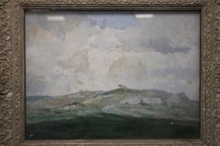 """A FRAMED A GLAZED REX VICAT COLE OIL ON BOARD TITLED TO THE BACK """"NORTH COUNTRY UPLANDS"""" AND"""