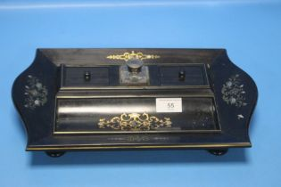 A REGENCY ROSEWOOD INK STAND WITH GILT METAL AND SHELL INLAY