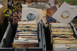 APPROX. 240 SINGLES RECORDS FROM THE 60S, 70S, 80S, 90S AND 00S CONTAINED IN TWO GREY PLASTIC