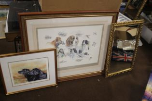 TWO FRAMED PRINTS OF DOGS BY JOEL KIRK AND CAROLINE COOK TOGETHER WITH A MIRROR