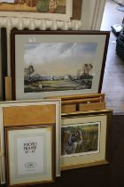 A QUANTITY OF ASSORTED PICTURES, PRINTS AND FRAMES