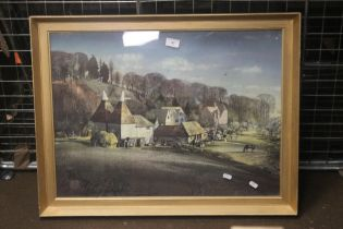 "A FRAMED AND GLAZED PRINT DEPICTING A FARMYARD SCENE TITLED ""CROCKHAM HILL"" BY ROLAND HILDER"