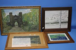 FOUR ASSORTED PICTURES AND PRINTS ALL FRAMED AND GLAZED