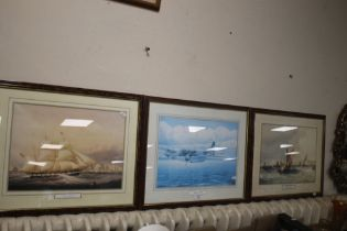 TWO PRINTS DEPICTING SAILING SHIPS TOGETHER WITH AN AEROPLANE PRINT