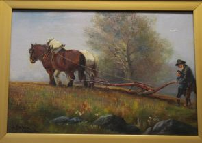 A FRAMED BRITISH SCHOOL OIL ON CANVAS OF A PLOUGHING SCENE DATED 1914 SIGNED TO THE LOWER LEFT