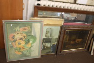 A LARGE FRAMED MIRROR TOGETHER WITH A CATTLE PICTURE AND TWO OTHERS