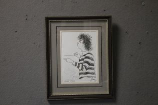 A FRAMED AND GLAZED SKETCH PENCIL SIGNED SIMON RATTLE