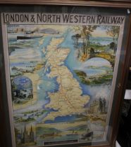 A REPRODUCTION RAILWAY MAP POSTER - London & North Western Railway, 119 x 91 cm