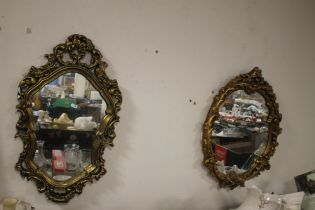 TWO GILT FRAMED WALL MIRRORS