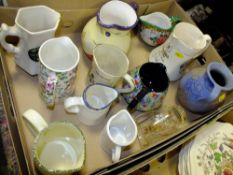 A BOX OF CERAMIC JUGS TO INCLUDE A WEST GERMAN EXAMPLE, WHISKEY JUGS ETC.