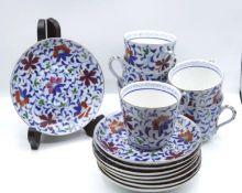 6x Tassen mit U.T. , U.T. gemarkt, Russland, florale Handbemalung, älter, Tassen H-6,5cm.