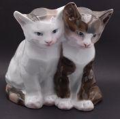 """Porzellan Figur : Kätzchenpaar von """"Rosenthal"""" Mod.Nr. 144,Entw. Willy Zügel, H-16cm,Ohr bestossen"""