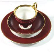 3tlg. Kaffeegedeck, Fürstenberg, weiss/rot/gold, Tasse H-8cm.