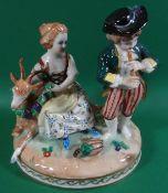 """Junges Paar mit Ziege """"Dresden-Potschappel"""" bemalt, H-13,5 cm, D-13 cm"""