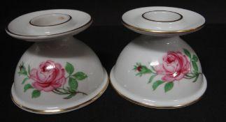 """Paar Leuchter """"Fürstenberg"""" Rose, H-5,5 cm"""