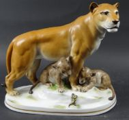Keramikfigur, Löwin mit Jungen und Salamander, Katzhütte Thuringia, 26 x 23 x 11,5 cm, Chip und