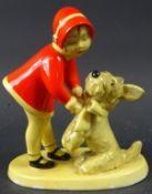 Art Deco-Figur, Mädchen mit Hund, Goldscheider Wien, Mod.nr. 4678, H. 13,5 cm, kleinere