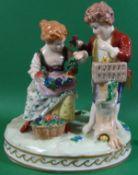 """Junges Paar mit Küken, """"Dresden-Potschappel"""" bemalt, H-13 cm, B-12 cm"""