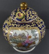 bauchige Deckelvase, wohl Japan, handbemalt, H-21 cm, D-23 cm,