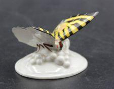 Schmetterling, Rosenthal, älter, polychr. Bemalung, guter Zustand, H-4,7cm B-6,5cm.