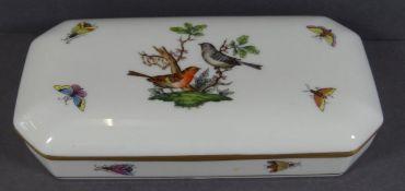 """gr. Deckeldose Herend"""" Dekor Rothschild, H-3 cm, 17x8,5 cm"""