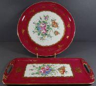 2x Kuchenplatten, wohl Limoges, France, berieben, D-31 und 36x15 cm