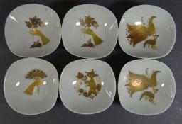 """6 Nussschälchen """"Rosenthal"""" Golddekor, 7x7 cm"""
