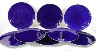 8x gr. Teller, Fürstenberg, kobaltblau, je D-27,5cm, leichte Gebrauchsspuren.
