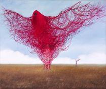 Justyna Koziczak, Wrocław 1991 , Woman clothed in a red bird, 2019