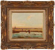 Carl Hilgers, 1818 – Dusseldorf – 1890  , Backwaters near Rotterdam / , Rozlewiska koło Rotterdamu,