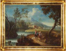 Indefinite author /  Autor nieokreślony ,  , Landscape with satffage / Pejzaż ze sztafażem, XVIII c.