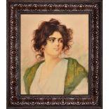 Stanisław Dębicki , Lubaczów 1866-1924 Kraków , Hutsul girl portrait / Portret hucułki, 1920.