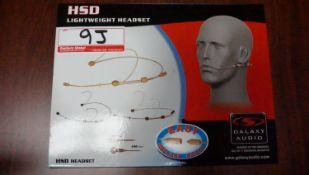 """NEW - GALAXY AUDIO HSD DOUBLE EAR BEIGE HEADSET MIC FOR SENNHEISER WIRELESS BELTPACKS (1/8"""")"""
