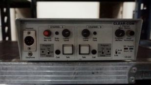 CLEAR-COM CS-222 TWO-CHANNEL COM MAIN STATION W/ CASE (HAS EXTRA SPACE FOR BELTPACKS & HEADSETS)
