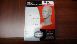 """NEW - GALAXY AUDIO HSD DOUBLE EAR BLACK HEADSET MIC FOR SENNHEISER WIRELESS BELTPACKS (1/8"""")"""