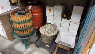 LOT - WINE PRESS, GRAPE MASHER, DOMAJON & ASSTD EMPTY WINE BOTTLES