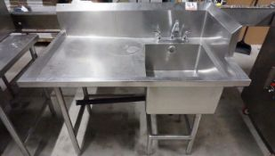 """APPROX 29"""" X 48 X 36"""" STAINLESS SINGLE COUNTER SINK"""