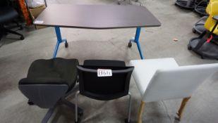LOT - WALNUT W/ BLUE LEG PORT TABLE C/W (3) BLACK & WHITE ASSTD CHAIRS