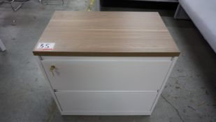 """WHITE 2-DR LAT FILE CABINET W/ 30""""W MAPLE TOP"""