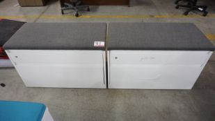"""UNITS - STEELCASE 36"""" X 23""""H WHITE 2-DR LAT FILE CABINET W/ GREY FAB TOP"""