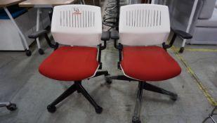 UNITS - COALESSE RED FAB &GREY BASE PNEU ADJ OFFICE CHAIRS