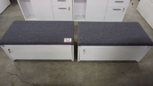 """UNITS - STEELCASE 36"""" X 17""""H WHITE 2-DR LAT FILE CABINET W/ GREY FAB TOP"""