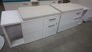 """UNITS - STEELCASE MUEBLE WHITE 20 X 42 X 24""""H 2-SIDED CABINET W/ FABRIC CUSHION"""