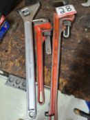 """LOT - ASSTD RIDGID, FULLER, CANPRO ADJUSTABLE 18""""& 24"""" PIPE WRENCHES"""