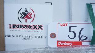 "BOXES - UNIMAXX COIL NAIL 3"" X .113 DRIVE SCREWS (4,500 SCREWS / BOX)"