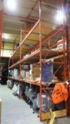 SECTIONS - ORANGE STEEL 4' X 12' X (1) 14'H & (17) 18'H PALLET RACKING (102 STRINGERS TOTAL) (RIGGIN