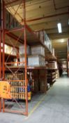 SECTIONS - ORANGE STEEL 4' X 12' X 18'H PALLET RACKING (74 STRINGERS TOTAL) (RIGGING FEE $40 / SECT
