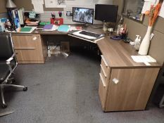"""STEELCASE APPROX 152"""" X 195"""" X 67""""H WORKSTATION PARTITIONS C/W (2) CORNER STATIONARY DESKS, (1) 6'"""