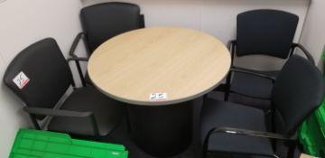 LOT - OAKTOP 3' DIA PEDISTAL TABLE W/ (2) BLACK LEATHER & (2) BLACK FABRIC ARM CHAIRS
